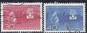 FINLAND  SC #368+369   USED  THE YEAR OF THE REFUGEE  SEE SCAN