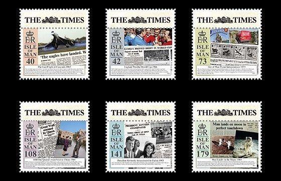 ISLE OF MAN 2013 STAMP ON STAMP NEWSPAPER AIRPLANE KENNEDY SOCCER SPACE 16076-9