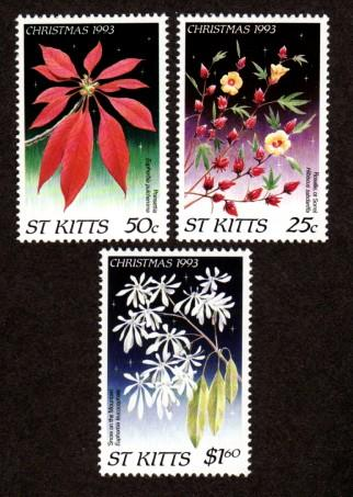 St. Kitts 369-371 Mint NH MNH Christmas Flowers!