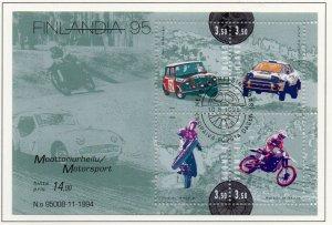 Finland Sc 961 1995 Motor Sports stamp sheet used
