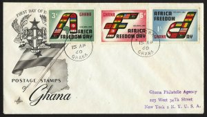 wc047 Ghana Africa Freedom Day 1960 FDC registered first day cover