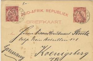 1894 Postal Stationery Card Pretoria to Germany Zuid-Afrik. Republiek ZAR