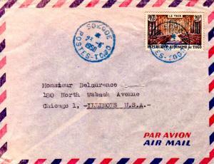 Togo 20F Teak Forest 1950 Sokode, Postes-Togo Airmail to Chicago, Ill.  EUROP...