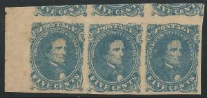 CSA Scott #4 Stone 2 Pos 11-13 Mint Full OG Strip of 3 Confederate Stamps