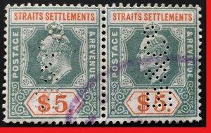 Malaya Straits Settlements 1902 KE VII Crown CA $5 Pair PERFIN SG#121 M2511
