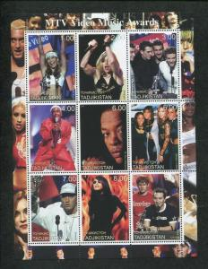 Tajikistan Commemorative Souvenir Stamp Sheet - 2000 MTV Video Music Awards