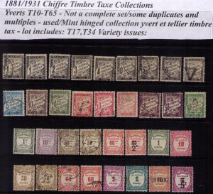 France 1881-1931 Sc J11-J67 Not A Complete SetTimbre Tax Used MH MNH Lot Of 34