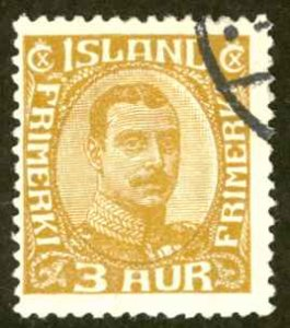 Iceland Sc# 109 Used 1920-1922 3a Christian X