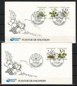 Faroe Is., Scott cat. 48-52. Flowers issue on 2 First day covers.