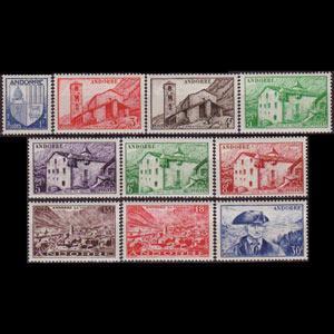 ANDORRA FR. 1944 - Scott# 114-23 Scenic Set of 10 LH