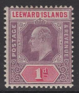 LEEWARD ISLANDS SG30 1906 1d DULL PURPLE & CARMINE MTD MINT