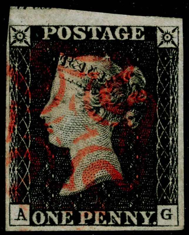 SG2, 1d black PLATE 4, FINE USED. Cat £400. RED MX. AG