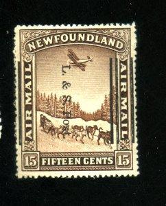 Newfoundland #211ii MINT Overprint Shift F-VF OG LH