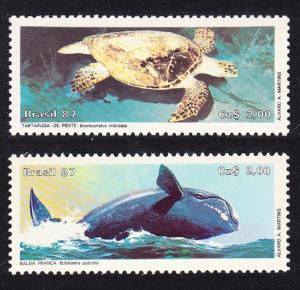 Brazil Turtle Whale Endangered Animals 2v SG#2274-2275 MI#2214-2215