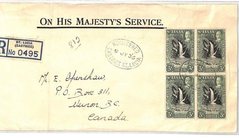 ST. LUCIA Cover 1935 3d BLOCK{4} Registered Official VERNON Canada WATERFALL CF2