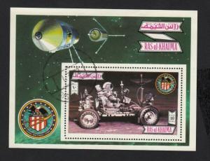 SPACE - Apollo 12, Spacecraft Lunar Rover - Souvenir Sheet Ras al Khaima 1972