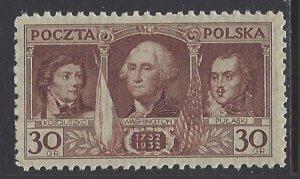 Poland, Scott #267; 30g Birth Anniversary of George Washington, MNH