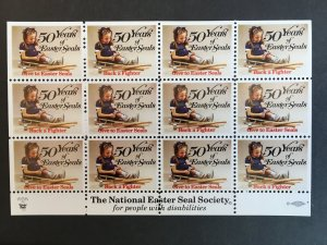 1969 National Easter Seal Society Back A Fighter 50 Years Pane/Sheet of 12 Stamp