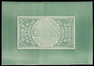 US SCOTT #OXF1TC2e Trial Color Small Die Proof On Card SCV $1,000 (DFP 7/13/20)