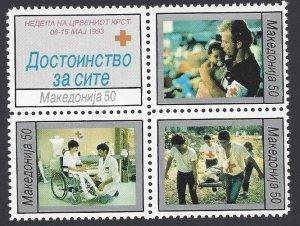 Macedonia #RA35a MNH  block of 4, Red cross week, issued1993
