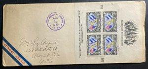 1940 La Ceiba Honduras Airmail First Day cover FDC To Newark NJ USA 50th Years