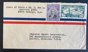 1936 Santo Domingo Dominican Republic Airmail Cover To Detroit MI Usa