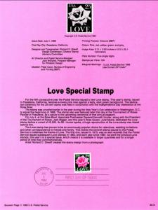 US SP831 Love Rose 2378 Souvenir Page FDC