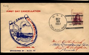 USS PHILADELPHIA CL-41 1937 Cachet Naval Cover First Day Cancellation F