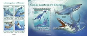 Z08 ST190507ab Sao Tome and Principe 2019 Prehistoric water animals MNH