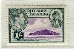 PITCAIRN ISLANDS; 1938 early GVI pictorial issue fine Mint hinged 1s. value