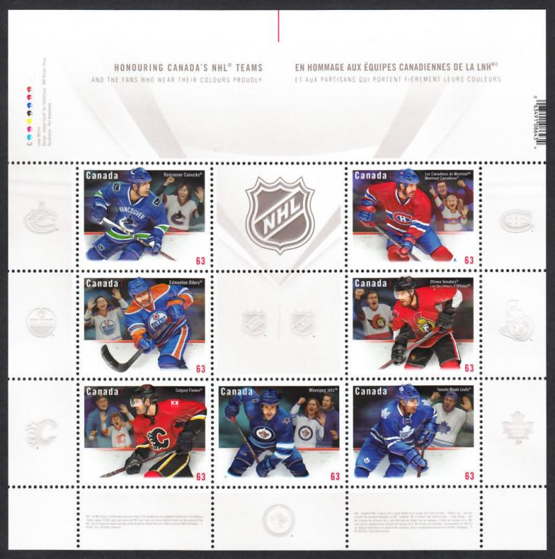 ma. HOCKEY CANADIAN NHL Teams JERSEY MiniSheet of 7 EMBOSSED stamps Canada 2013