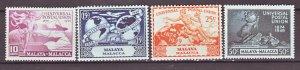 J22361 Jlstamps 1949 malaya-malacca set mh #18-21 upu