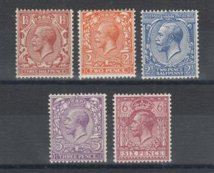 Great Britain Sc 189/195 MNH. 1924 KGV definitives, 5 diff from set of 12, F-VF
