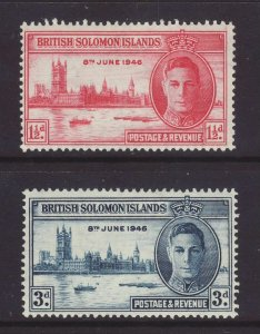 1946 Br Solomon Is Victory Set Mounted-Mint.