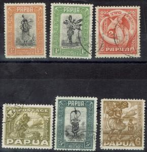 PAPUA 1932 PICTORIAL RANGE TO 6D USED