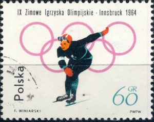 POLAND / POLEN - 1964 Mi.1460A 60gr Winter Olympics (Skating) - VF Used (a)