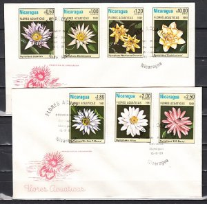 Nicaragua, Scott cat. 1114-9, C981. Aquatic Flowers issue. 2 First day covers. ^