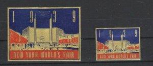 USA -1939 New York World's Fair Hall of Communications Type 6 Lot of 2 MH OG