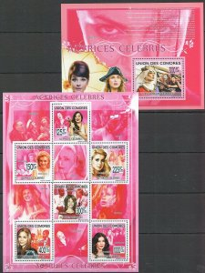 UC354 2009 COMOROS FAMOUS PEOPLE ACTORS ACTRICES BL+KB MNH