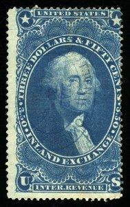 B304 U.S. Revenue Scott R87c $3.50 Inland Exchange blue, oval handstamp cancel