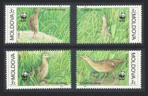 Moldova Birds WWF Corncrake 4v SG#382-385 MI#379-382 SC#370 a-d