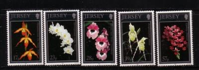 Jersey  Sc 626-30 1993 Orchids stamps mint NH