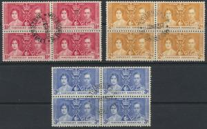 Northern Rhodesia  SG 22-24 SC# 22-24  Used / FU  blocks see detail and scan