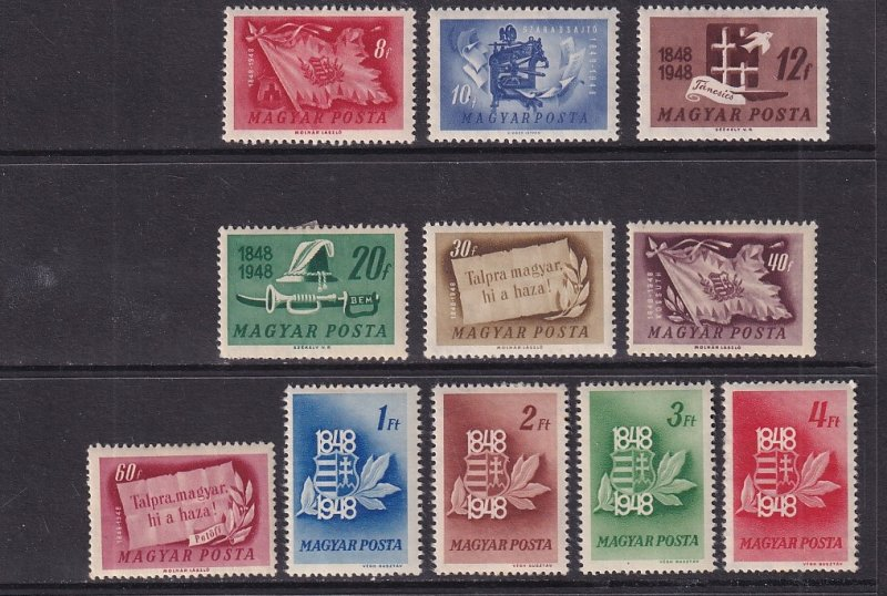 Hungary  #829-839    MH  1948  war for Independence  100 years