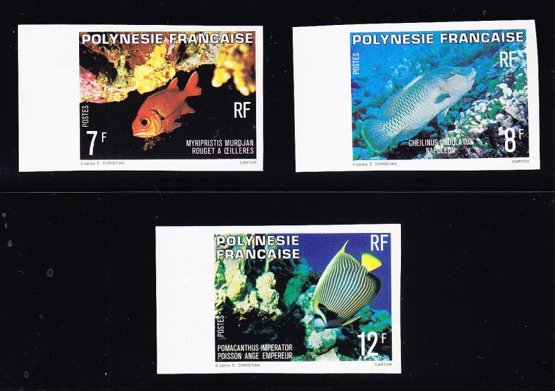 French Polynesia 1960 Imperf Color Proofs on Shiny Paper  FISH