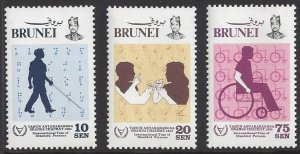 Brunei #273-75 MNH set, International year of the disabled, issued 1981