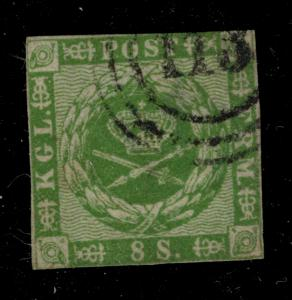 Denmark Stamp Scott #8, Used - Free U.S. Shipping, Free Worldwide Shipping Ov...