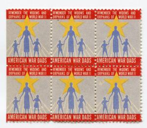 American War Dads World War 2 ll Widows Orphans charity stamp Poster seal block