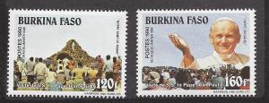 Burkina Faso, 887-88, Pope John Paul II Singles,**MNH**