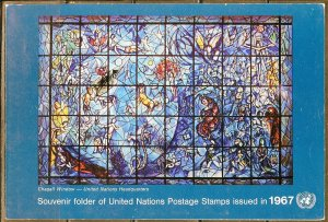 UNITED NATIONS NEW YORK 1967 COMPLETE FOLDER W/ MNH ISSUES IN GLASSINE AS SHOWN